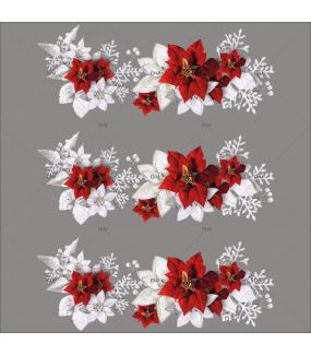 Sticker-frises-de-poinsettias-givrés-fleurs-nature-hiver-cristaux-neige-flocons-vacances-fête-vitrophanie-décoration-vitrine-noël-électrostatique-sans-colle-repositionnable-réutilisable-DECO-VITRES