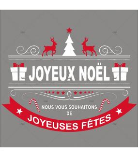 Sticker-bannière-textes-joyeux-noël-joyeuses-fêtes-rennes-sapin-rouge-blanc-vitrophanie-décoration-vitrine-noël-opticien-électrostatique-sans-colle-repositionnable-réutilisable-DECO-VITRES