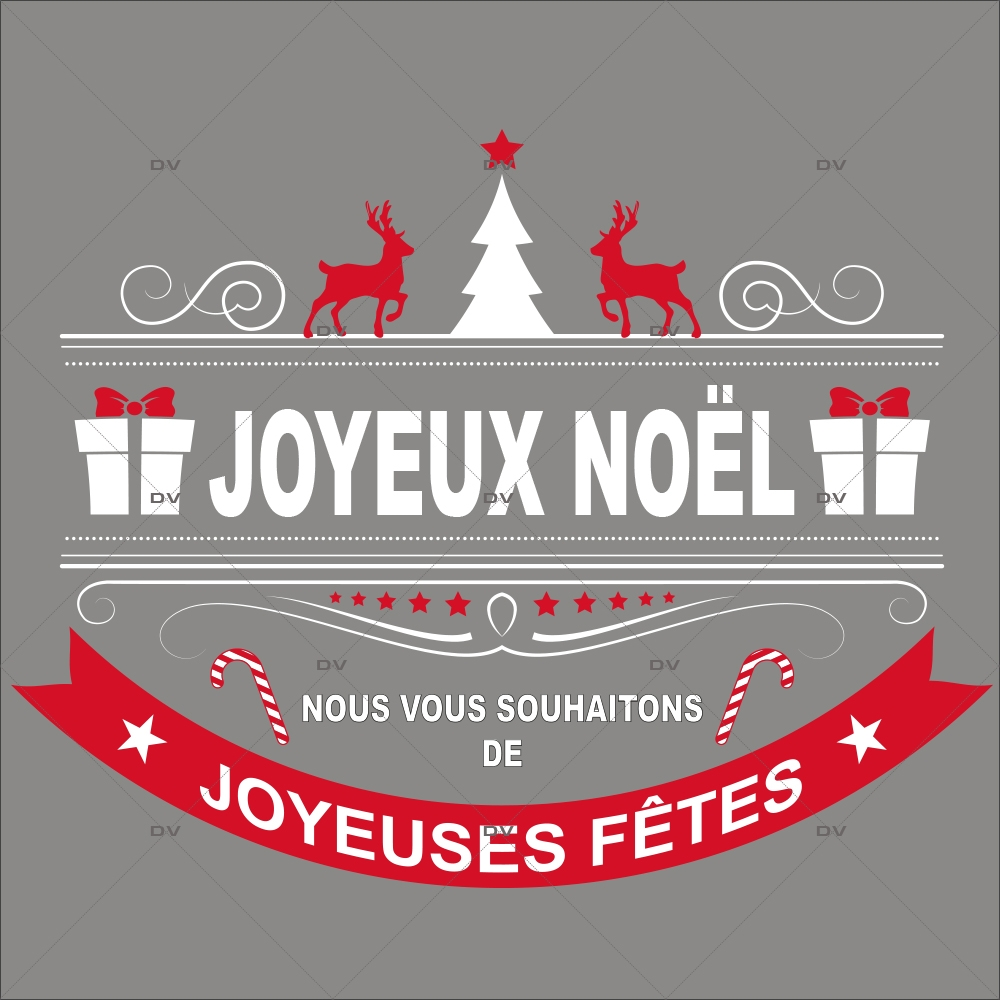 Sticker-bannière-textes-joyeux-noël-joyeuses-fêtes-rennes-sapin-rouge-blanc-vitrophanie-décoration-vitrine-noël-opticien-électrostatique-sans-colle-repositionnable-réutilisable-DECO-VITRES