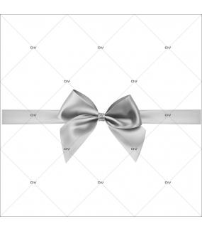 Sticker-frise-noeud-cadeau-argent-petit-à-géant-vitrophanie-décoration-vitrine-noël-électrostatique-sans-colle-repositionnable-réutilisable-DECO-VITRES