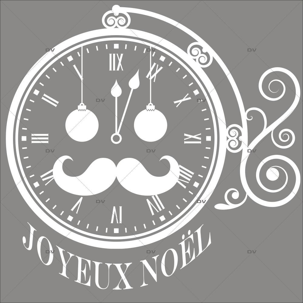 Sticker-horloge-père-noël-texte-joyeux-noël-blanc-vitrophanie-décoration-vitrine-noël-opticien-électrostatique-sans-colle-repositionnable-réutilisable-DECO-VITRES