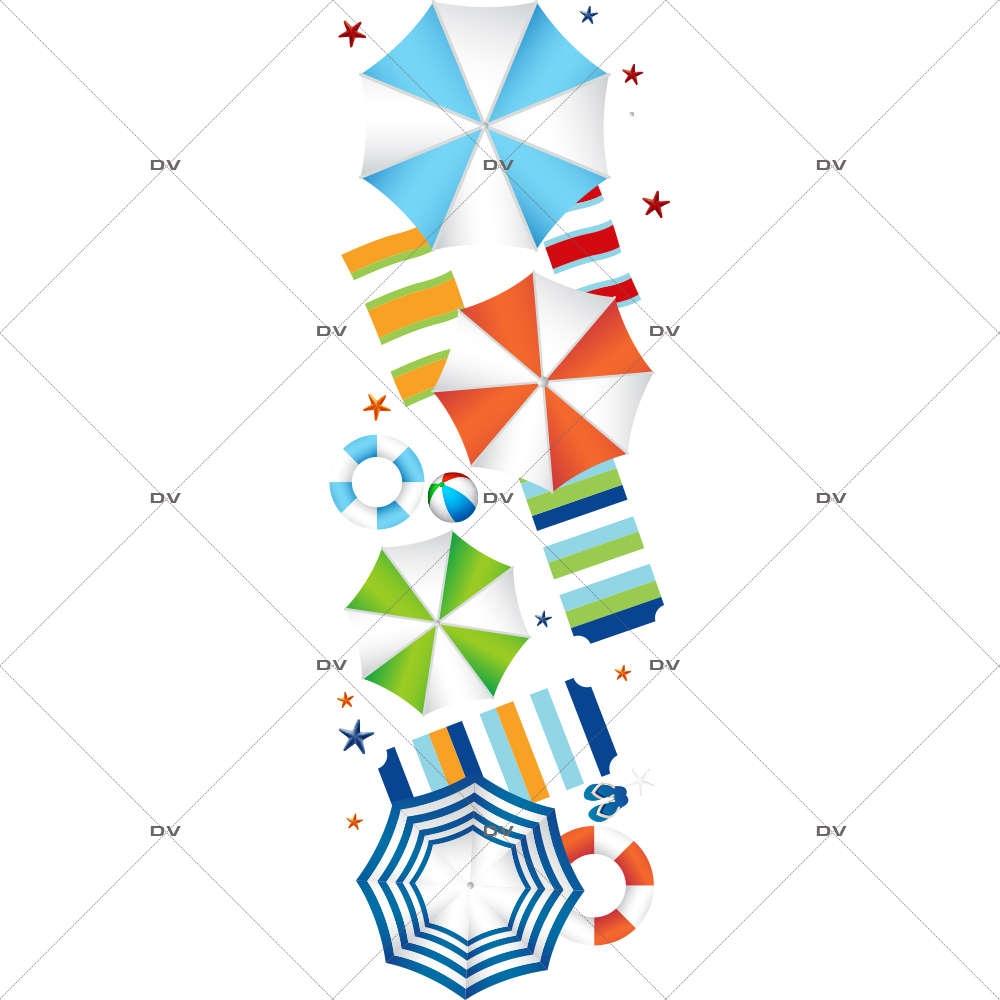 Sticker-frise-géante-parasols-plage-serviettes-tongs-mer-vacances-été-vitrophanie-décoration-vitrine-estivale-électrostatique-sans-colle-repositionnable-réutilisable-DECO-VITRES