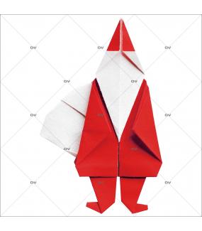 Sticker-père-noël-moderne-origami-vitrophanie-décoration-vitrine-noël-électrostatique-sans-colle-repositionnable-réutilisable-DECO-VITRES
