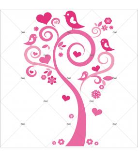 Sticker-arbre-coeurs-et-oiseaux-roses-chambre-bébé-enfant-fille-adhésif-encres-écologiques-latex-décoration-intérieure-DECO-VITRES
