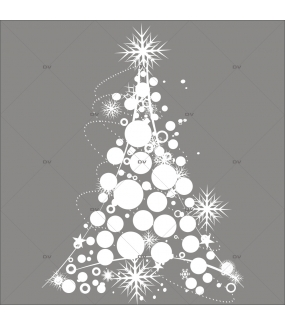 Sticker-sapin-en-boules-de-noël-et-cristaux-blanc-thème-moderne-graphique-vitrophanie-décoration-vitrine-noël-électrostatique-sans-colle-repositionnable-réutilisable-DECO-VITRES