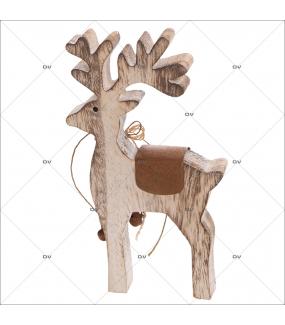 Sticker-renne-bois-nature-thème traditionnel-animaux-vitrophanie-décoration-vitrine-noël-électrostatique-sans-colle-repositionnable-réutilisable-DECO-VITRES