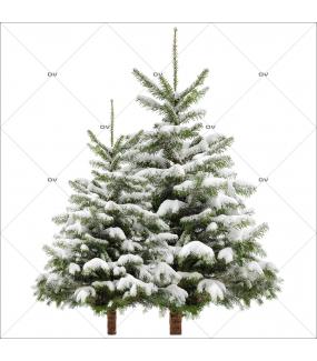 Sticker-paysage-de-neige-sapins-enneigés-hiver-ski-vacances-fête-vitrophanie-décoration-vitrine-noël-électrostatique-sans-colle-repositionnable-réutilisable-DECO-VITRES