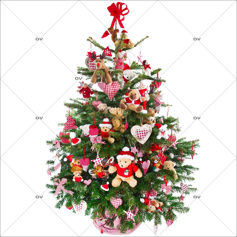 Sapin De Noel Decoration Traditionnelle sp16 - sticker sapin de noël décoré - deco-vitres -sticker vitres