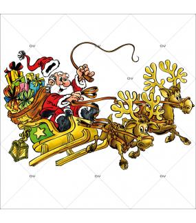 Sticker-père-noël-rennes-traineau-cadeaux-vitrophanie-décoration-vitrine-noël-électrostatique-sans-colle-repositionnable-réutilisable-DECO-VITRES