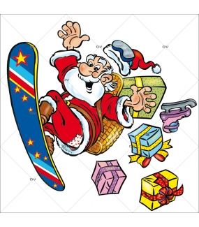Sticker-père-noël-ski-surf-cadeaux-vitrophanie-décoration-vitrine-noël-électrostatique-sans-colle-repositionnable-réutilisable-DECO-VITRES