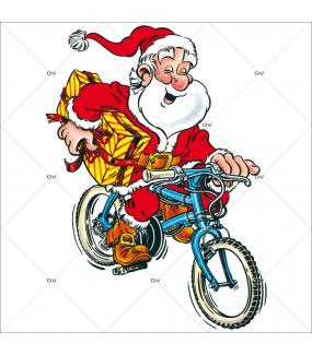 Sticker-père-noël-vélo-bicyclette-vitrophanie-décoration-vitrine-noël-électrostatique-sans-colle-repositionnable-réutilisable-DECO-VITRES