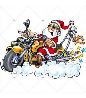 Sticker-père-noël-biker-moto-chopper-vitrophanie-décoration-vitrine-noël-électrostatique-sans-colle-repositionnable-réutilisable-DECO-VITRES