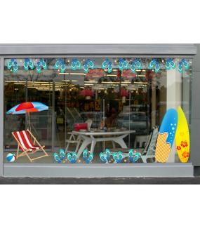 Sticker-tongs-frises-été-mer-plage-vitrophanie-décoration-vitrine-estivale-électrostatique-sans-colle-repositionnable-réutilisable-DECO-VITRES