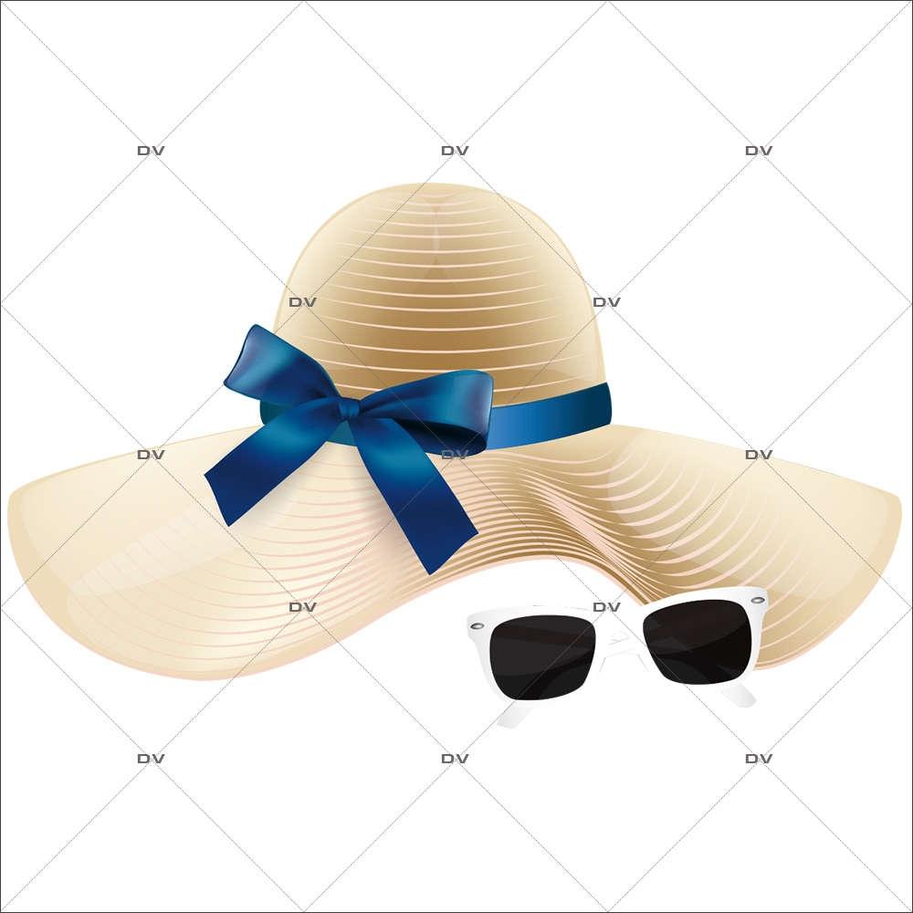 Sticker-chapeau-lunettes-soleil-été-mer-plage-vitrophanie-décoration-vitrine-estivale-électrostatique-sans-colle-repositionnable-réutilisable-DECO-VITRES