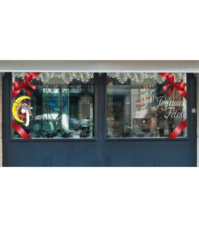 Sticker-père-noël-lunettes-liste-sur-croissant-de-lune-vitrophanie-décoration-vitrine-noël-opticien-électrostatique-sans-colle-repositionnable-réutilisable-DECO-VITRES