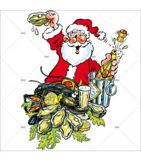 Sticker-père-noël-écailler-huitres-homard-champagne-vitrophanie-décoration-vitrine-noël-poissonnerie-restaurant-électrostatique-sans-colle-repositionnable-réutilisable-DECO-VITRES