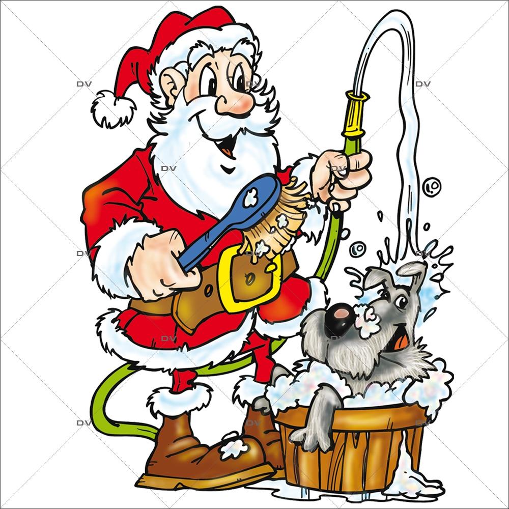 Sticker-père-noël-toilettage-chien-bassine-fête-vitrophanie-décoration-vitrine-noël-toiletteur-électrostatique-sans-colle-repositionnable-réutilisable-DECO-VITRES