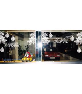 Sticker-père-noël-voiture-cadeaux-vitrophanie-décoration-vitrine-noël-électrostatique-sans-colle-repositionnable-réutilisable-DECO-VITRES
