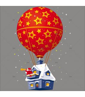 Sticker-père-noël-montgolfière-ballon-longue-vue-vitrophanie-décoration-vitrine-noël-électrostatique-sans-colle-repositionnable-réutilisable-DECO-VITRES