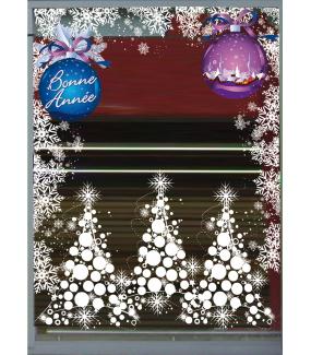 Sticker-boules-de-noël-géantes-texte-bonne-année-bleu-violet-vitrophanie-décoration-vitrine-noël-électrostatique-sans-colle-repositionnable-réutilisable-DECO-VITRES