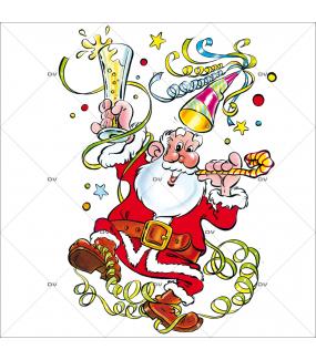 Sticker-père-noël-côtillons-serpentins-fête-vitrophanie-décoration-vitrine-noël-électrostatique-sans-colle-repositionnable-réutilisable-DECO-VITRES