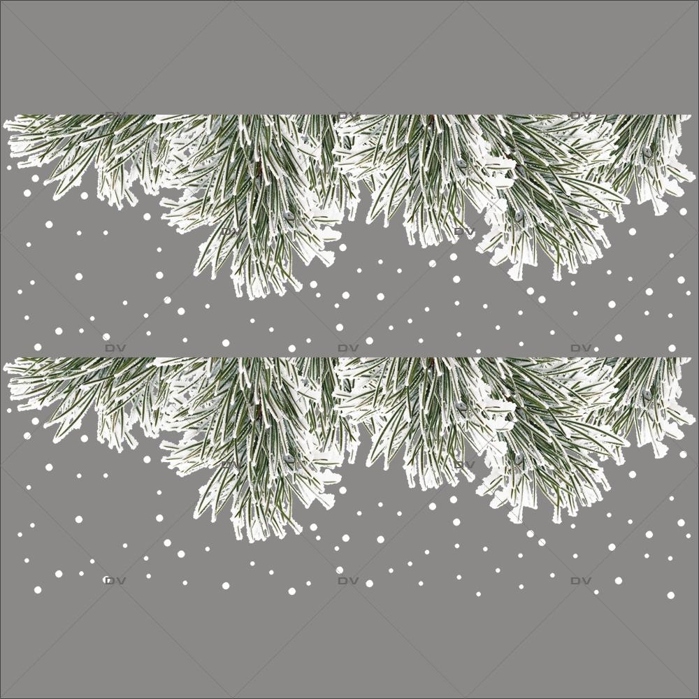 Sticker-paysage-de-neige-frises-pin-enneigé-flocons-entourage-encadrement-hiver-ski-vacances-fête-vitrophanie-décoration-vitrine-noël-électrostatique-sans-colle-repositionnable-réutilisable-DECO-VITRES