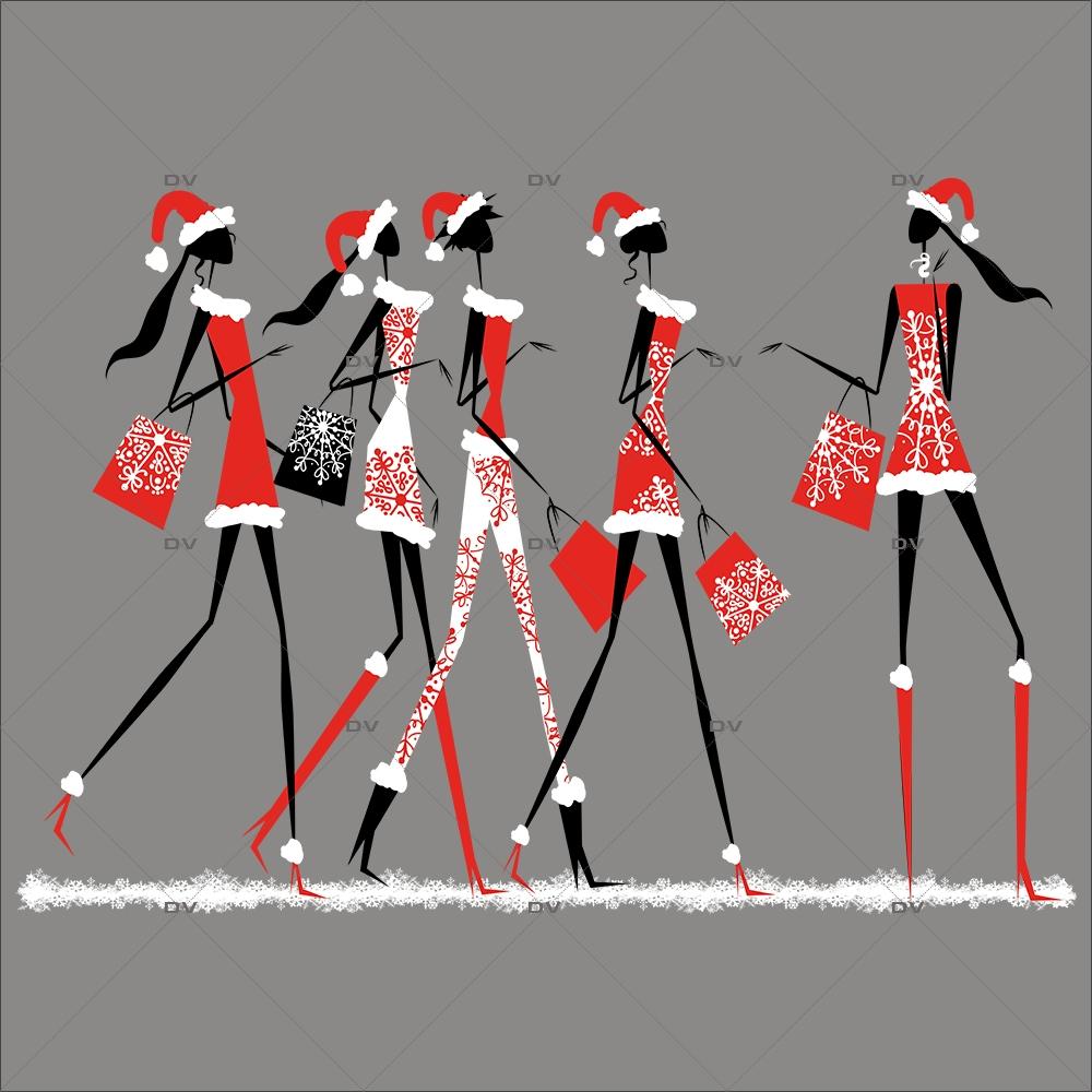 Sticker-frise-de-mannequins-modèles-shopping-de-noël-silhouettes-cristaux-blanc-vitrophanie-décoration-vitrine-noël-électrostatique-sans-colle-repositionnable-réutilisable-DECO-VITRES