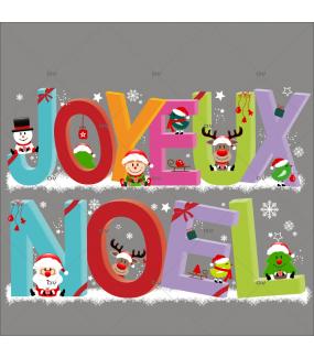 Sticker-banderole-joyeux-noël-sapin-père-noël-lutin-renne-cristaux-vitrophanie-décoration-vitrine-noël-opticien-électrostatique-sans-colle-repositionnable-réutilisable-DECO-VITRES