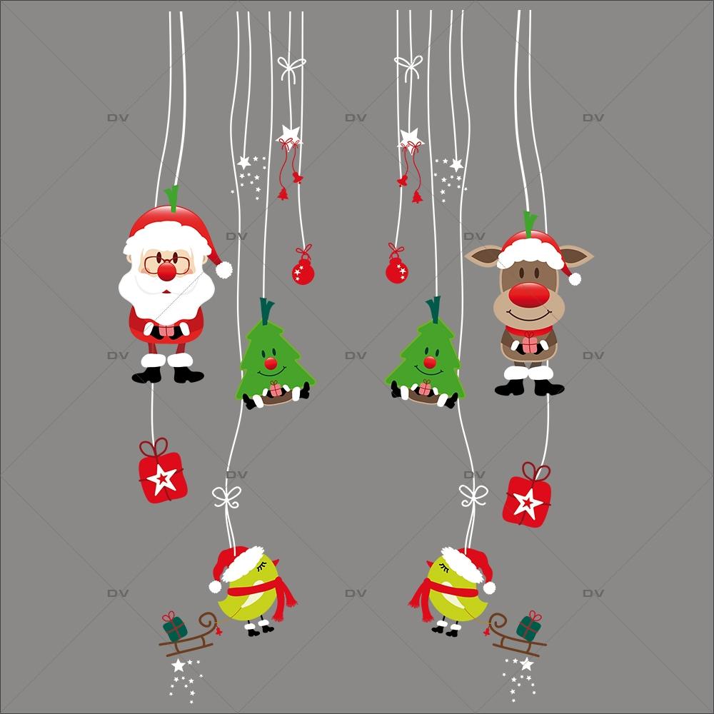 Sticker-frises-suspensions-père-noël-sapins-renne-oiseaux-boules-vitrophanie-décoration-vitrine-noël-électrostatique-sans-colle-repositionnable-réutilisable-DECO-VITRES