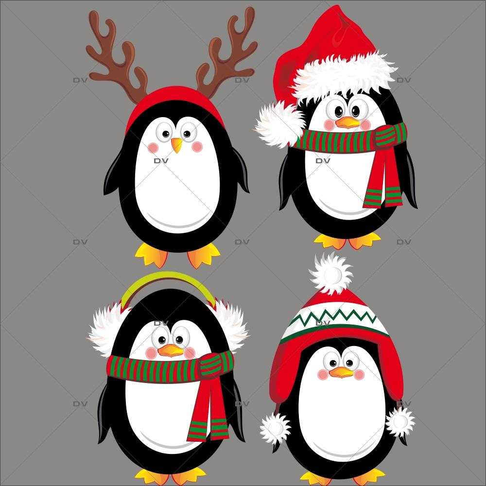 Sticker-4-pingouins-de-noël-polaire-animaux-vitrophanie-décoration-vitrine-noël-hiver-électrostatique-sans-colle-repositionnable-réutilisable-DECO-VITRES