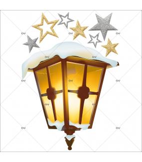 Sticker-paysage-de-neige-lanterne-enneigée-étoiles-hiver-or-argent-fête-vitrophanie-décoration-vitrine-noël-électrostatique-sans-colle-repositionnable-réutilisable-DECO-VITRES