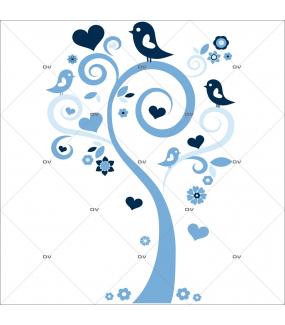 Sticker-arbre-coeurs-et-oiseaux-bleus-chambre-bébé-enfant-garçon-adhésif-encres-écologiques-latex-décoration-intérieure-DECO-VITRES