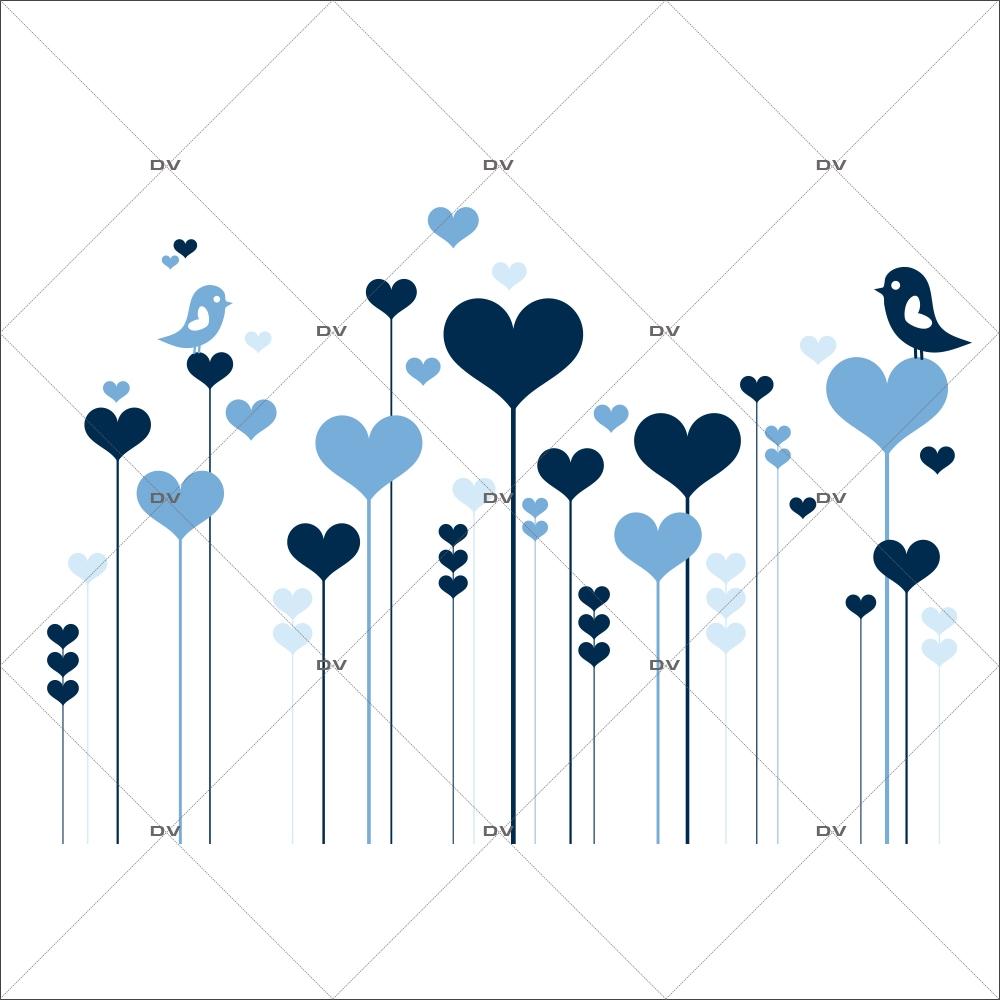 Sticker-frise-de-coeurs-et-oiseaux-bleus-chambre-bébé-enfant-adhésif-encres-écologiques-latex-décoration-intérieure-DECO-VITRES