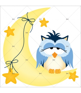 Sticker-hiboux-sur-croissant-de-lune-oiseaux-bleus-chambre-bébé-enfant-adhésif-encres-écologiques-latex-décoration-intérieure-DECO-VITRES