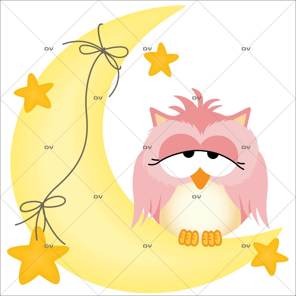 Sticker-hiboux-sur-croissant-de-lune-oiseaux-roses-chambre-bébé-enfant-adhésif-encres-écologiques-latex-décoration-intérieure-DECO-VITRES