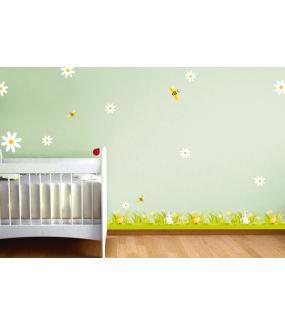 Stickers-4-abeilles-et-1-coccinelle-printanière-chambre-bébé-enfant-cuisine-salon-mural-adhésif-encres-écologiques-latex-décoration-intérieure-DECO-VITRES