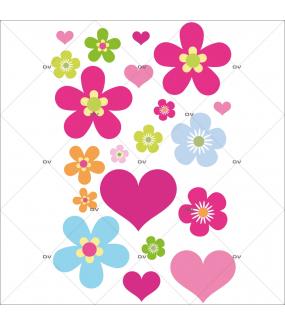Stickers-20-fleurs-multicolores-et-coeurs-roses-chambre-bébé-enfant-fille-cuisine-salon-mural-adhésif-encres-écologiques-latex-décoration-intérieure-DECO-VITRES