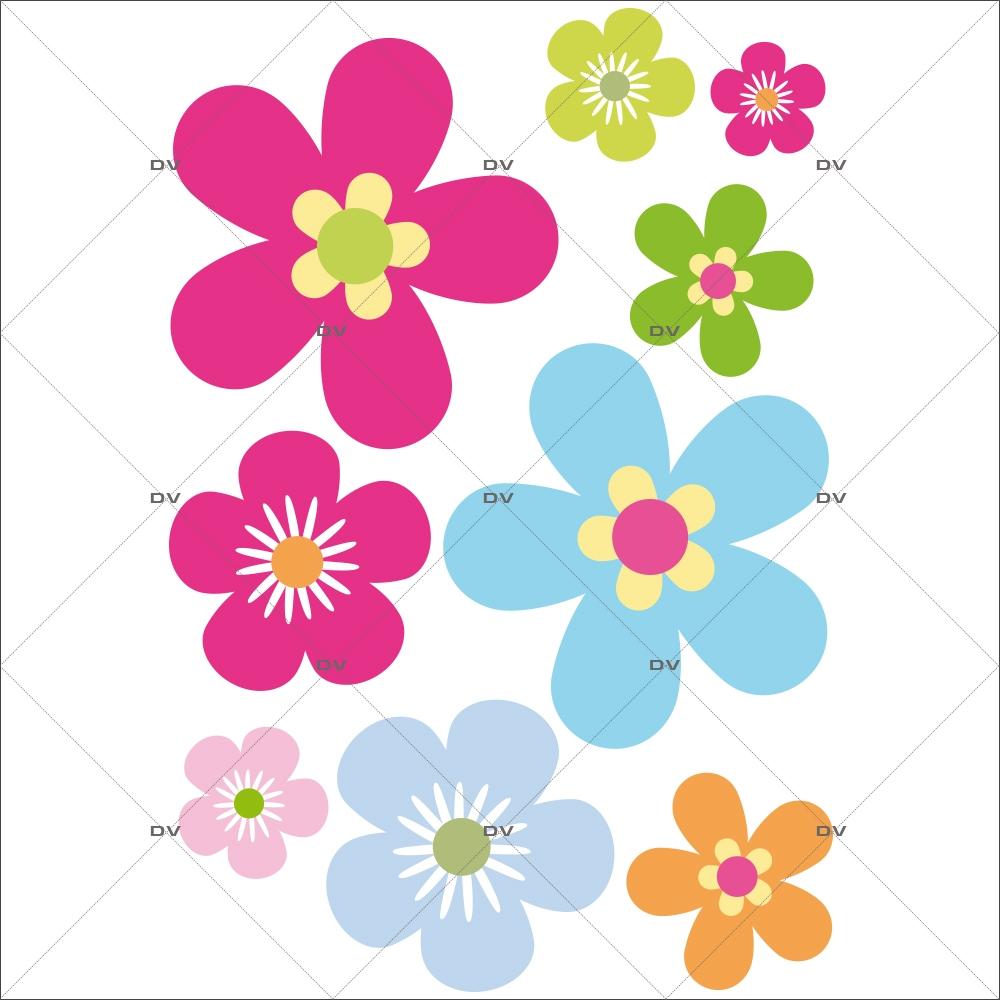 Sticker-fleurs-muticolores-chambre-bébé-enfant-salon-cuisine-salon-salle-de-bains-adhésif-encres-écologiques-latex-décoration-intérieure-DECO-VITRES