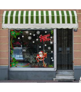 Sticker-angle-de-houx-rubans-nature-entourage-vitrophanie-décoration-vitrine-noël-électrostatique-sans-colle-repositionnable-réutilisable-DECO-VITRES
