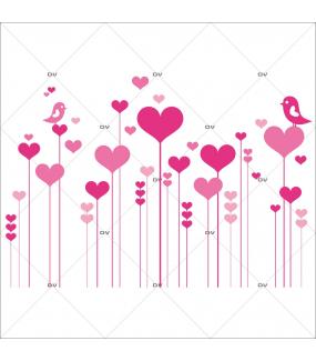 Sticker-frise-coeurs-et-oiseaux-roses-chambre-enfant-bébé-mural-adhésif-encres-écologiques-latex-décoration-intérieure-DECO-VITRES