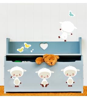 Sticker-agneaux-et-papillons-chambre-enfant-bébé-mural-adhésif-encres-écologiques-latex-décoration-intérieure-DECO-VITRES