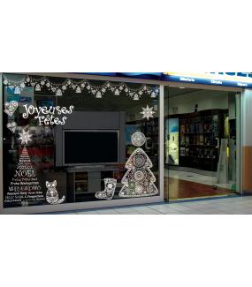 Sticker-texte-joyeuses-fêtes-blanc-vitrophanie-décoration-vitrine-noël-électrostatique-sans-colle-repositionnable-réutilisable-DECO-VITRES