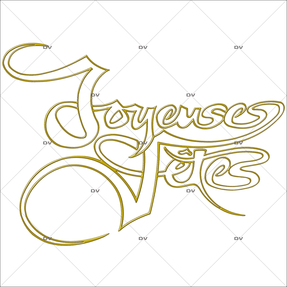 Sticker-texte-joyeuses-fêtes-jaune-doré-blanc-vitrophanie-décoration-vitrine-noël-opticien-électrostatique-sans-colle-repositionnable-réutilisable-DECO-VITRES
