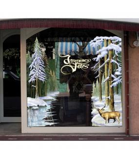 Sticker-texte-joyeuses-fêtes-jaune-doré-blanc-vitrophanie-décoration-vitrine-noël-électrostatique-sans-colle-repositionnable-réutilisable-DECO-VITRES