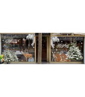 Sticker-faon-animaux-forêt-vitrophanie-décoration-vitrine-noël-hiver-automne-électrostatique-sans-colle-repositionnable-réutilisable-DECO-VITRES