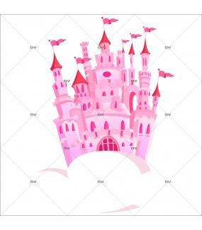 Sticker-château-féérique-rose-nuages-chambre-bébé-enfant-fille-adhésif-encres-écologiques-latex-décoration-intérieure-DECO-VITRES