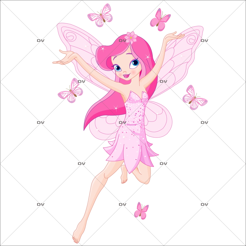 Sticker-fée-féérique-rose-papillons-chambre-bébé-enfant-fille-adhésif-encres-écologiques-latex-décoration-intérieure-DECO-VITRES