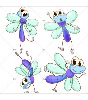 Stickers-4-libellules-bleues-chambre-enfant-bébé-mural-adhésif-encres-écologiques-latex-décoration-intérieure-DECO-VITRES