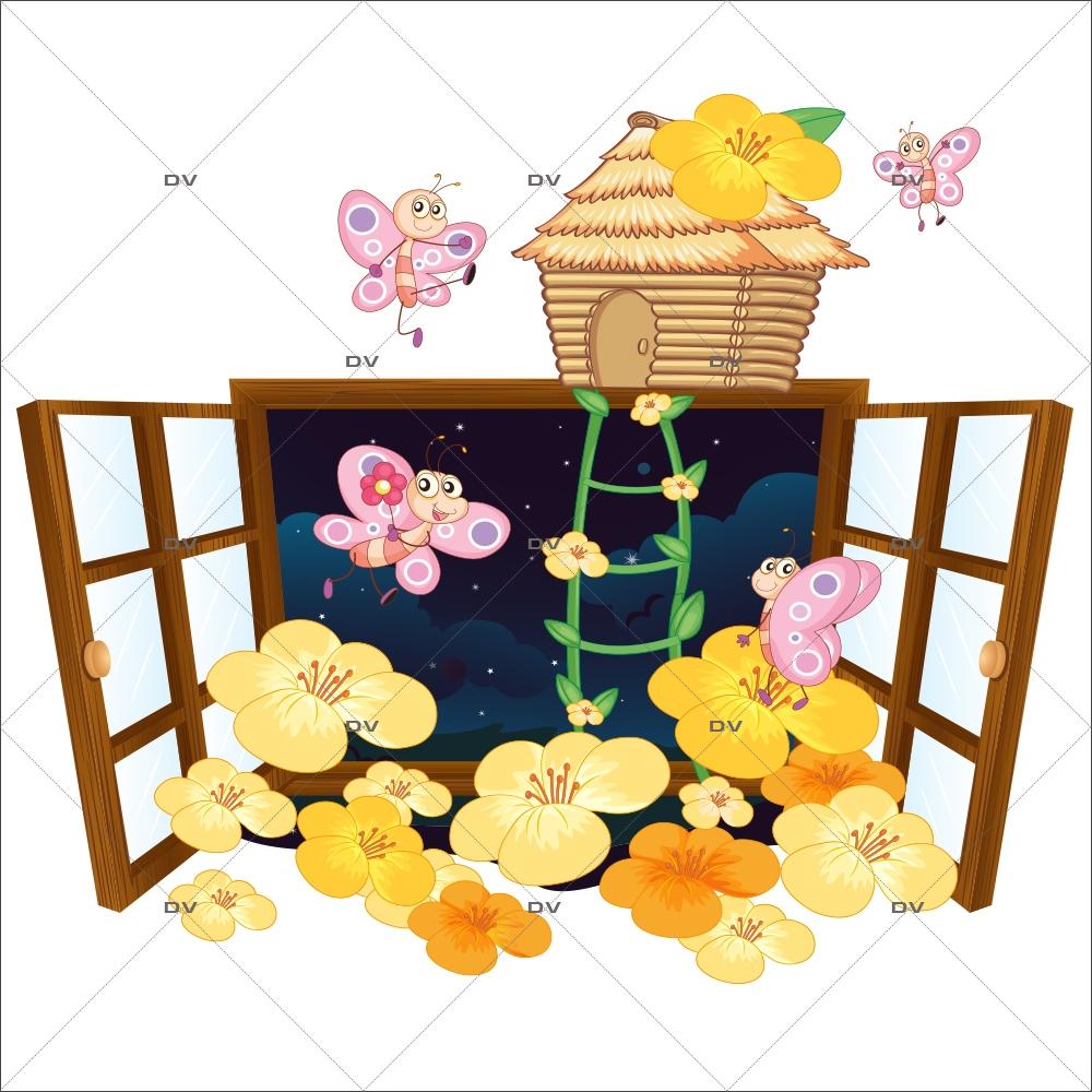 Stickers Pour Fenetre Chambre ds119 - sticker fenêtre fleurs et papillons - deco-vitres