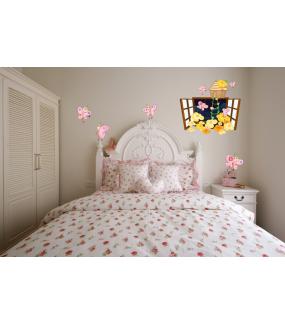 Sticker-fenêtre-fleurs-et-papillons-roses-chambre-bébé-enfant-fille-mural-adhésif-encres-écologiques-latex-décoration-intérieure-DECO-VITRES